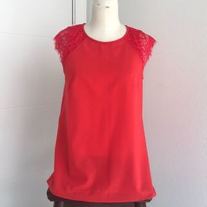 J. Crew Bright Red/Orange Lace Cap Sleeve Top